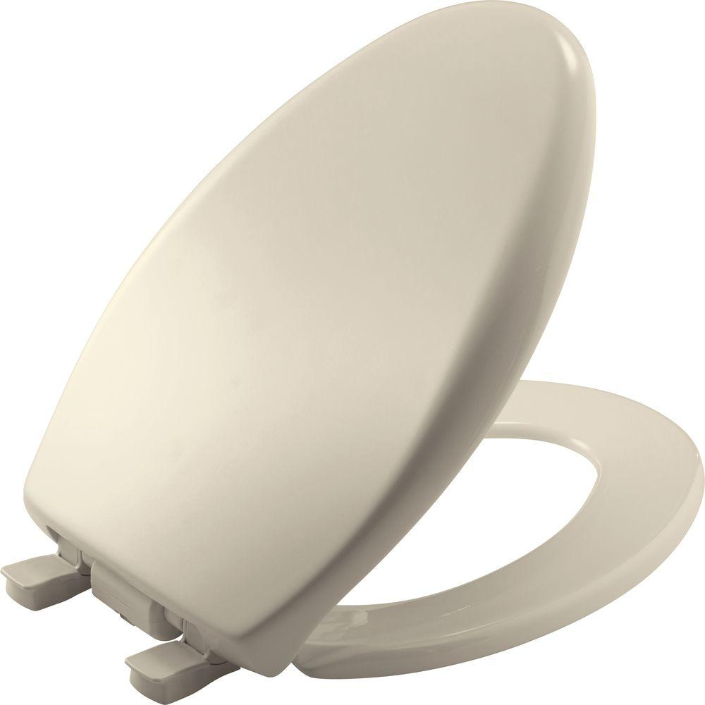 iLumaLIght Night Light Elongated Closed Front Toilet Seat in Almond