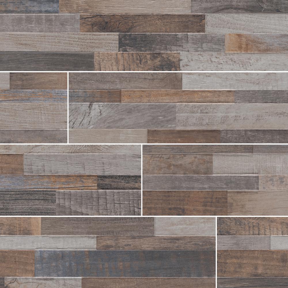 Keywood Multi Ledger Panel 6 in. x 24 in. Matte Porcelain Wall Tile (11 sq. ft. / case)
