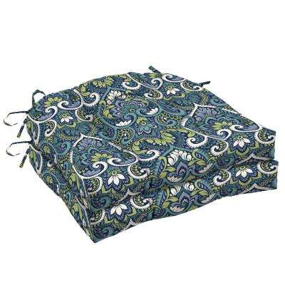 20 in. x 18 in. Sapphire Aurora Damask Rectangle Outdoor Seat Cushion (2-Pack)
