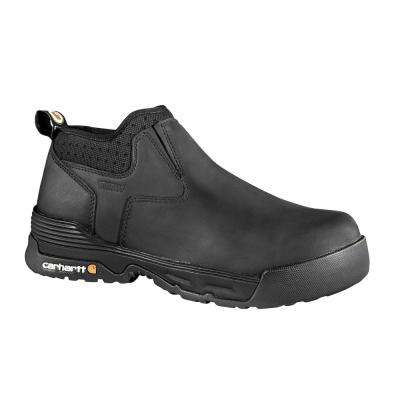 FORCE Men's 08.5M Black Leather Waterproof Composite Safety Toe 4-inch Work Slip-On CMA4311