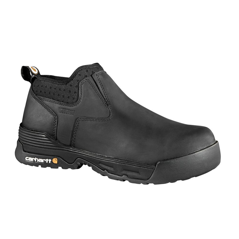 FORCE Men's 10.5W Black Leather Waterproof Composite Safety Toe 4 in.