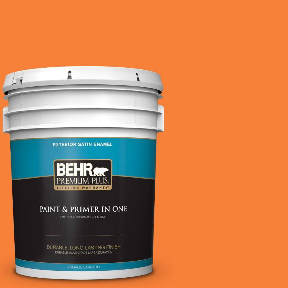 BEHR Premium Plus 5-gal. #230B-6 Orange Burst Satin Enamel Exterior Paint