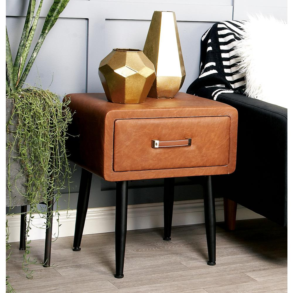 Brown Faux Leather Storage Side Table with Black Iron Legs