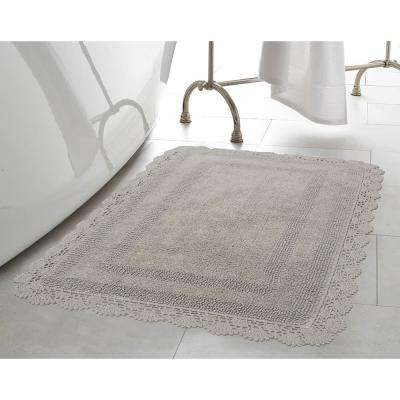 Crochet 100% Cotton 17 in. x 24 in./21 in. x 34 in. 2-Piece Bath Rug Set in Light Grey