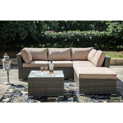 4-Piece Wicker Outdoor Sectional Set with Beige Cushions
