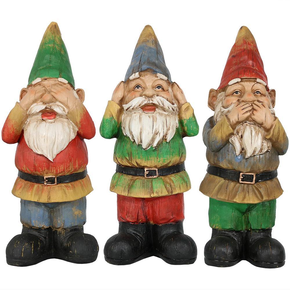 Hear No Evil Speak No Evil See No Evil 3-Wise Garden Statues (Set of 3)