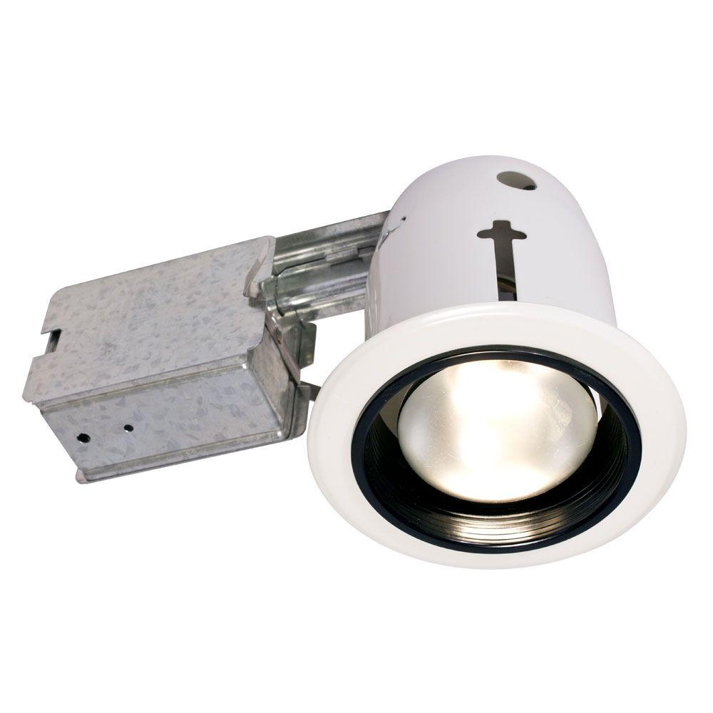 BAZZ 200 Series 4 in. White/Black Recessed Halogen/Incandescent Baffle Light Fixture Kit