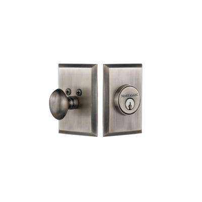 New York Plate 2-3/8 in. Backset Single Cylinder Deadbolt in Antique Pewter