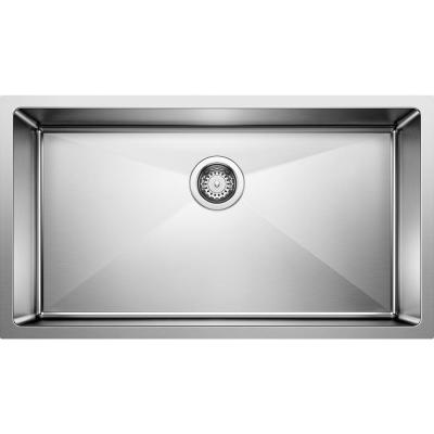Quatrus Farmhouse Apron Front Stainless Steel 32 in. x 19 in. Single Bowl Kitchen Sink in Satin Polished