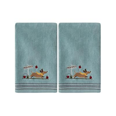 Aqua 100% Cotton Dog with Apples Hand Towel (2-Pack)