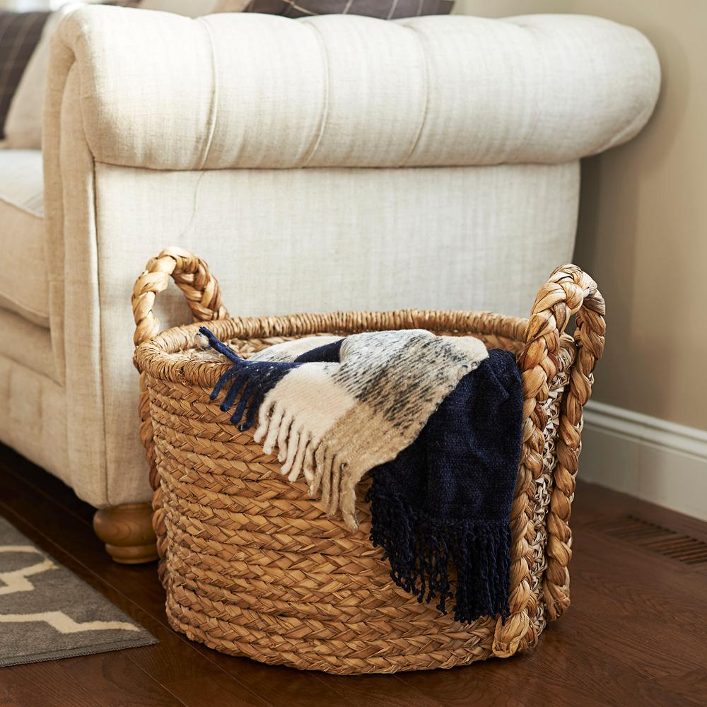 Household Essentials 18.5 in x 20 in. Water Hyacinth Soft Basket with Braided Handles & Household Essentials 18.5 in x 20 in. Water Hyacinth Soft Basket ...