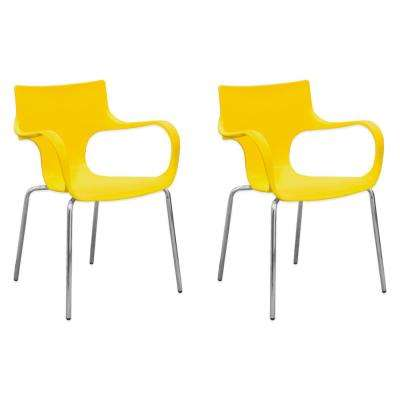 Phin Plastic Yellow Modern Dining Side Chair (Set of 2)