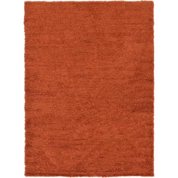 Solid Shag Terracotta 7 ft. x 10 ft. Area Rug