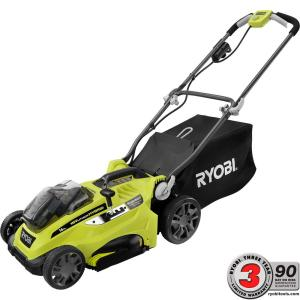 Ryobi 16 inch One+ 18-Volt Lithium-Ion Hybrid Push Lawn Mower - Two 4.0 Ah Batteries and Charger Included by Ryobi