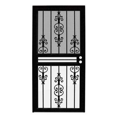 32 in. x 80 in. Estate Black Recessed Mount All Season Security Door with Insect Screen and Glass Inserts