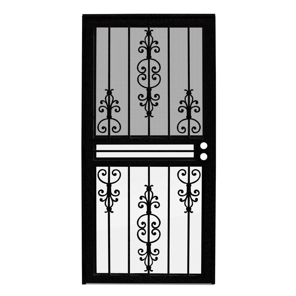 Unique Home Designs 30 in. x 80 in. Estate Black Recessed Mount All Season Security Door with Insect Screen and Glass Inserts