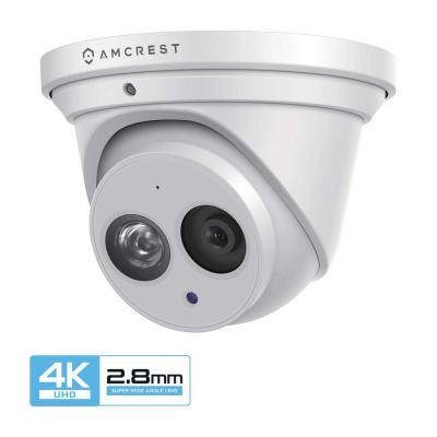 UltraHD 4K (8MP) Wired Outdoor Dome IP Turret PoE Surveillance Camera, 164 ft. NightVision 2.8 mm Lens IP67 Weatherproof