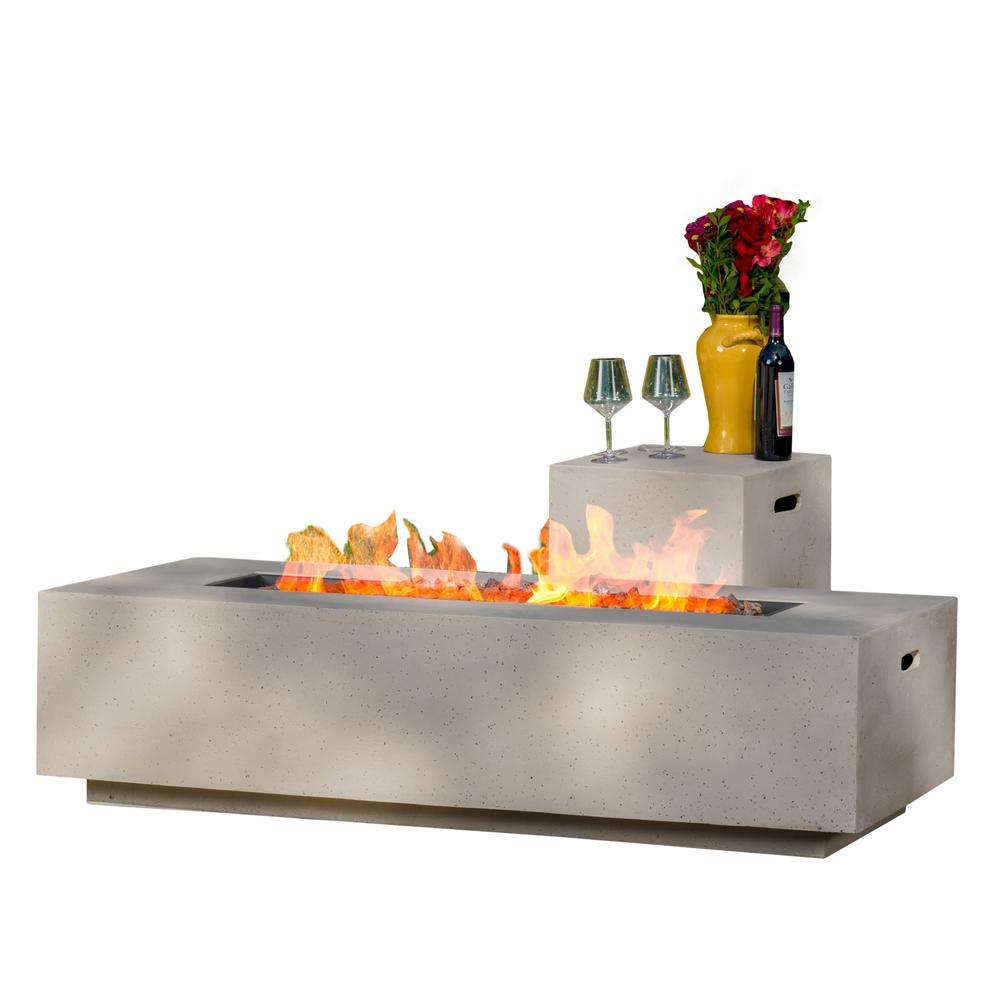 Noble House Aidan 56 in. x 15.00 in Rectangular MGO Gas Fire Pit Table in Light Grey - 50,000 BTU with Tank Holder