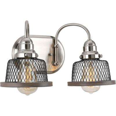Tilley Collection 2-Light Brushed Nickel Bathroom Vanity Light with Mesh Shades