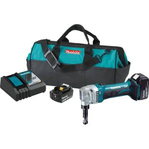 Click here to buy Makita 18-Volt 5.0Ah LXT Lithium-Ion Cordless 16-Gauge Nibbler Kit by Makita.