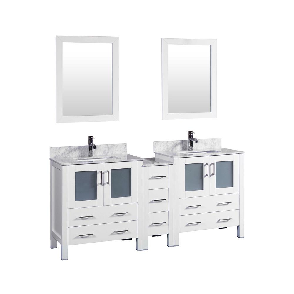 Bosconi 72 in. W Double Bath Vanity in White with Carrara Marble Vanity Top with White Basin and Mirror