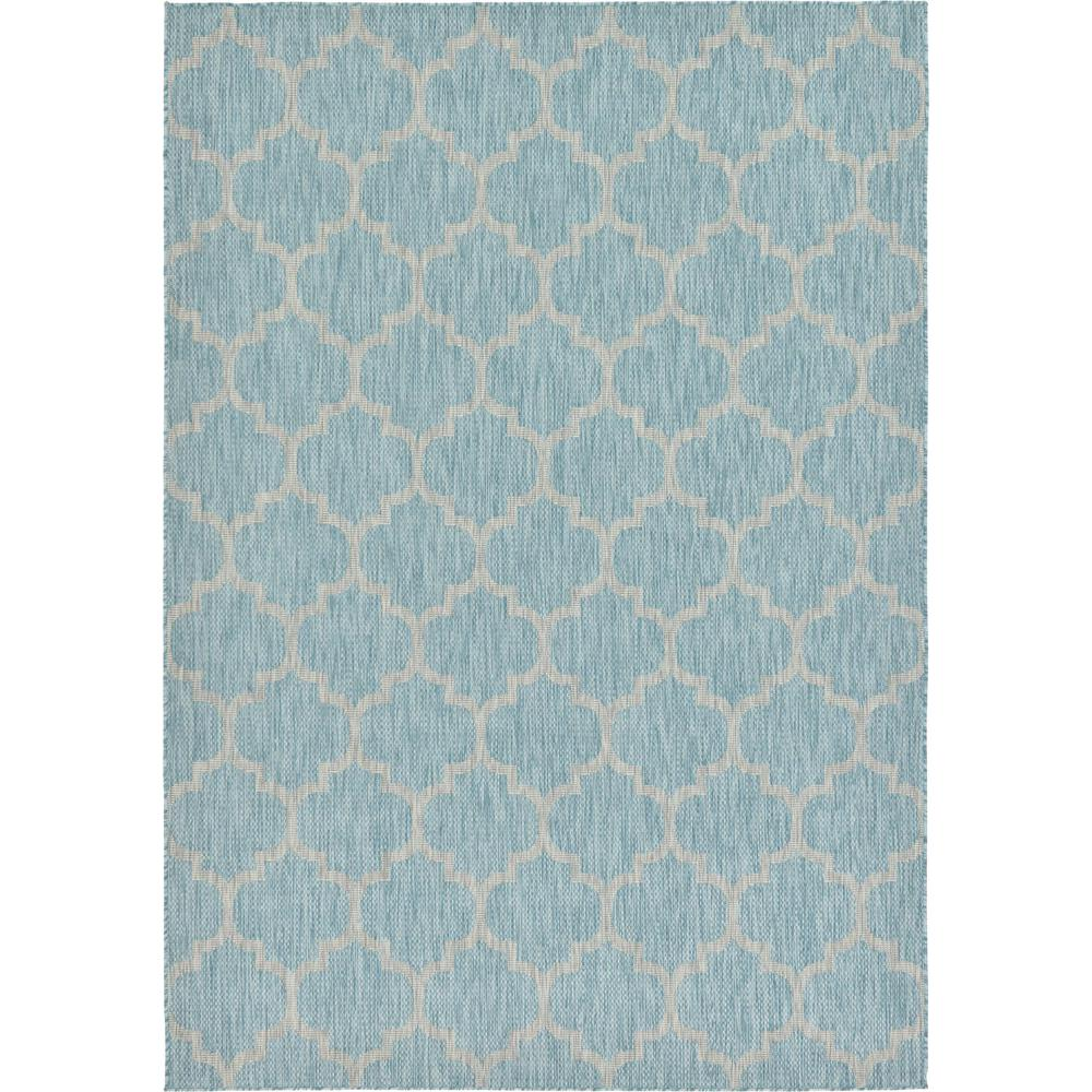 Outdoor Rug 7 X 10: Unique Loom Outdoor Aquamarine 7' X 10' Indoor/Outdoor Rug