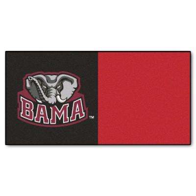 NCAA - University of Alabama Black and Red Nylon 18 in. x 18 in. Carpet Tile (20 Tiles/Case)