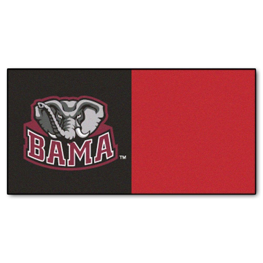 NCAA - University of Alabama Black and Red Nylon 18 in. x 18 in. Carpet Tile (20 Tiles/Case)