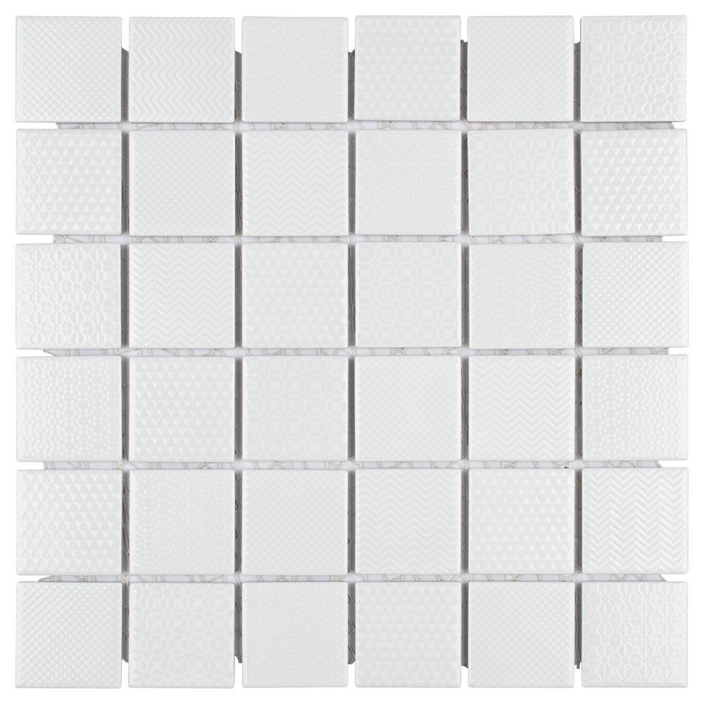 Celadon White 11-5/8 in. x 11-5/8 in. x 6 mm Porcelain Mosaic Tile