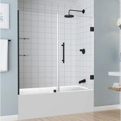 Belmore GS 59.25 in. to 60.25 in. x 60 in. Frameless Hinged Tub Door with Glass Shelves in Matte Black