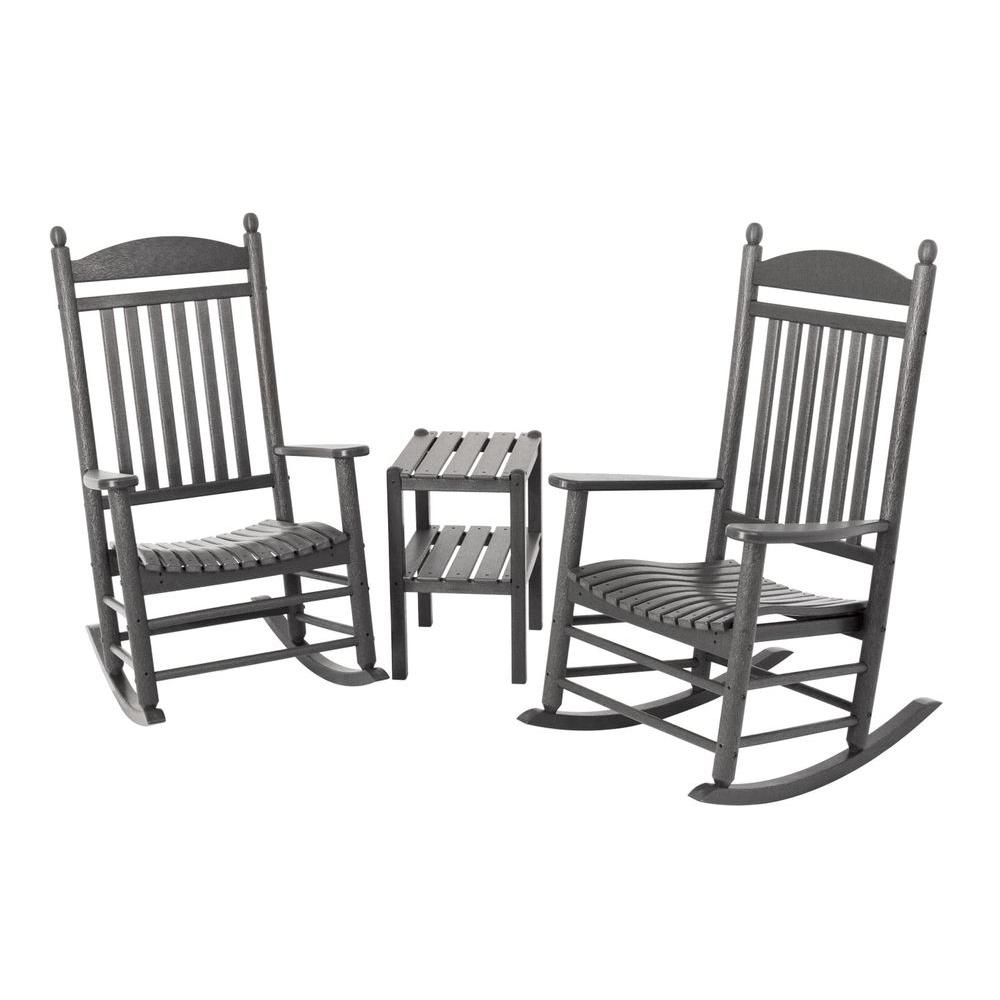 Jefferson Slate Grey 3-Piece Patio Rocker Set