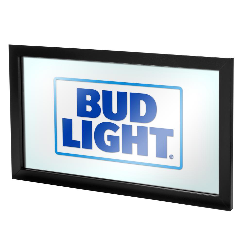 Bud Light 15 in. x 26 in. Black Wood Framed Mirror