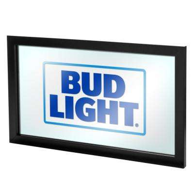 Bud Light 15 in. x 26 in. Black Wood Framed Mirror