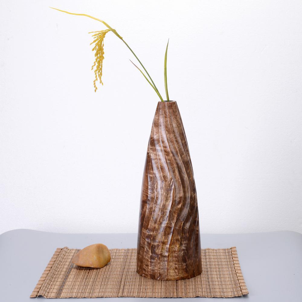 15 in. Tall Handmade Decorative Tapered Mango Wood Half Swirl Tower Vase in Brown