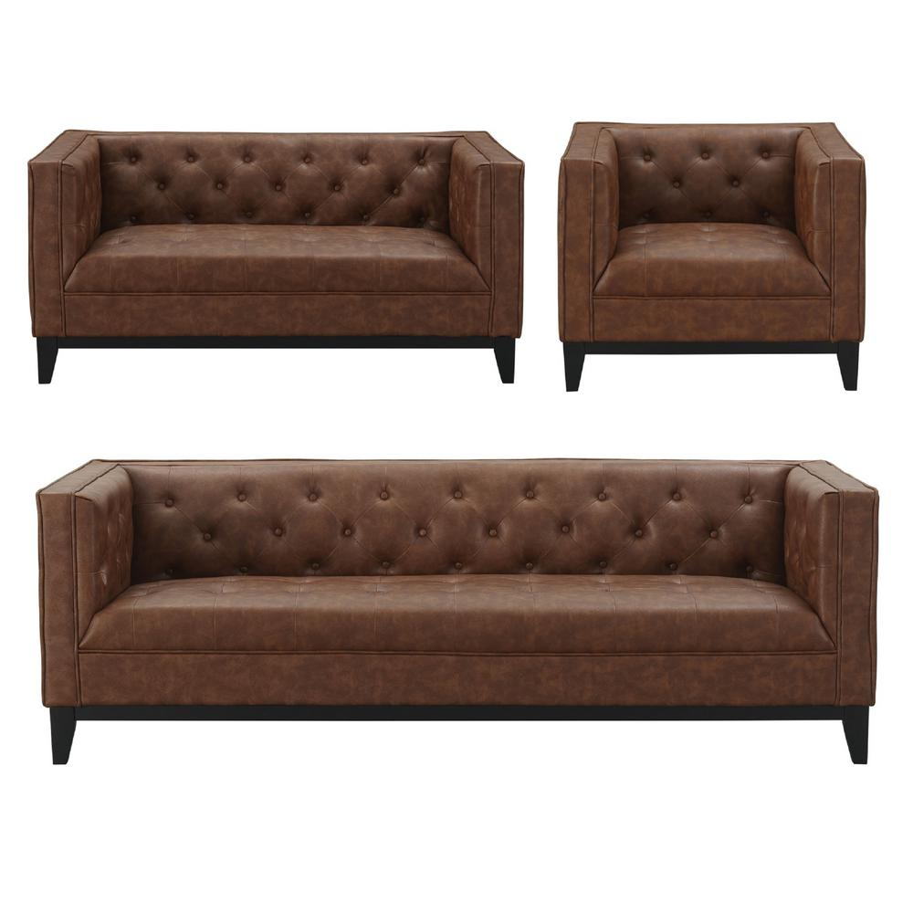 Manhattan Comfort Cadman 3 Piece Sofa Loveseat And Armchair Set In Camal Pu Leather