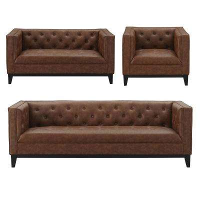 Cadman 3-Piece Sofa, Loveseat and Armchair Set in Camal PU Leather