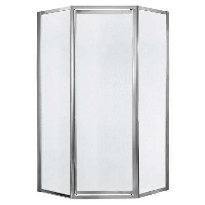 Tides 18-1/2 in. x 24 in. x 18-1/2 in. x 70 in. Framed Neo-Angle Shower Door in Silver and Obscure Glass