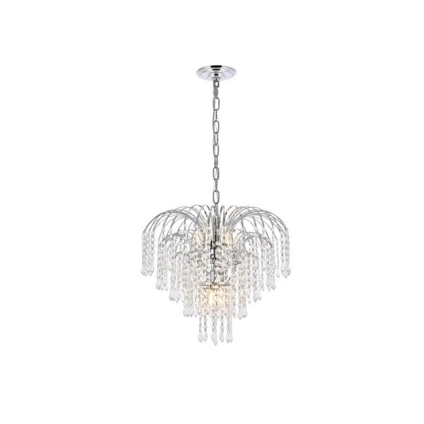 Timeless Home 19 in. L x 19 in. W x 16 in. H 6-Light Chrome with Clear Crystal Contemporary Pendant