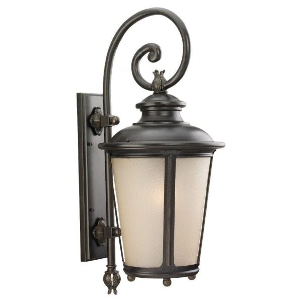 Cape May 1-Light Burled Iron Outdoor 29.75 in. Wall Lantern Sconce