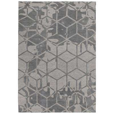 Hampton Collection Gray 5 ft. X 7 ft. Geometric 3D Cube Design Area Rug