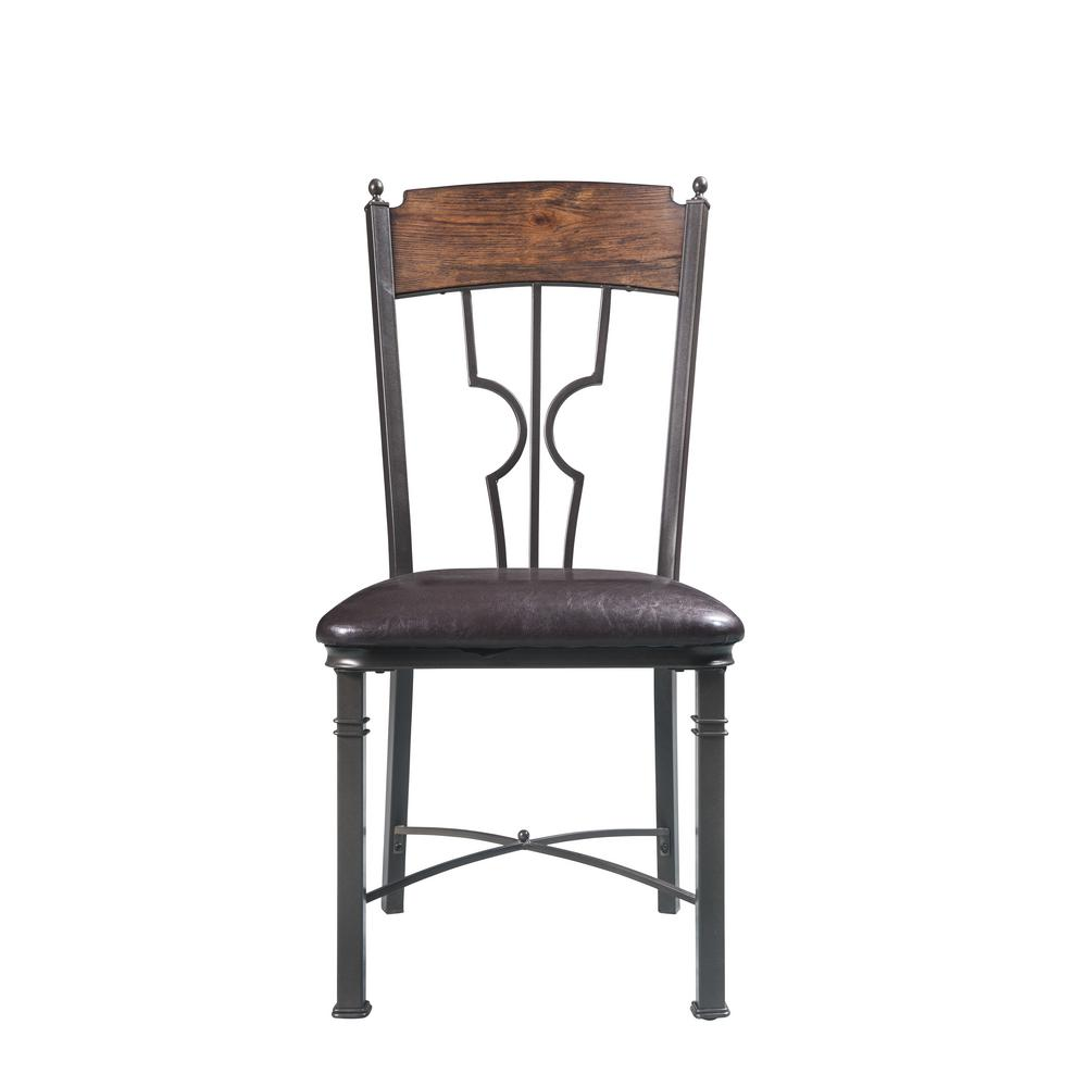 LynLee Espresso PU and Dark Bronze Side Chair (Set of 2)