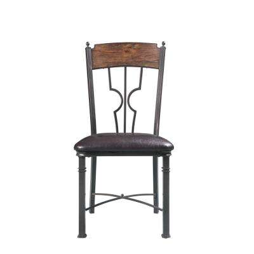 LynLee Espresso PU and Dark Bronze Side Chair (Set of 2)