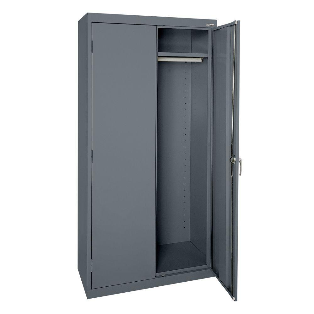 Edsal 66 In H X 30 In W X 18 In D Steel Freestanding Wardrobe Cabinet In Tan 6601tn The Home Depot