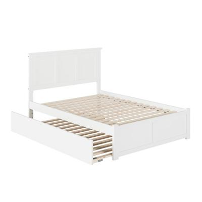 Madison White Full Platform Bed with Flat Panel Foot Board and Full Size Urban Trundle Bed
