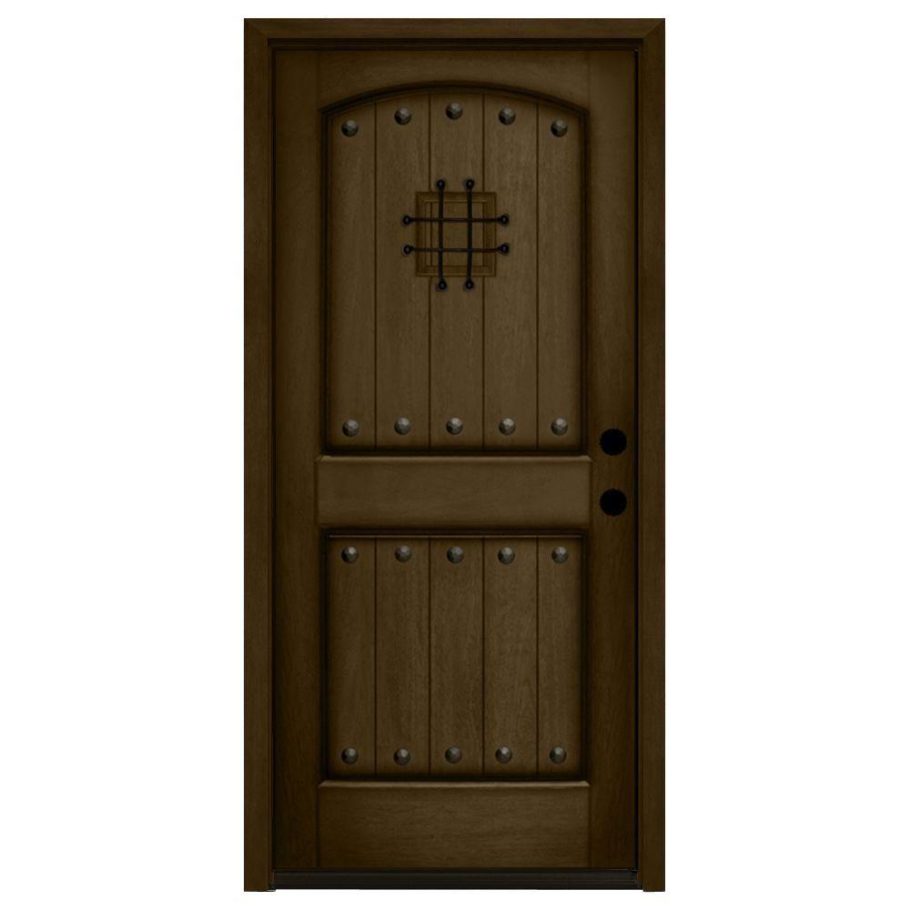 Rustic 2 Panel Speakeasy Stained Mahogany Wood Prehung Front Door