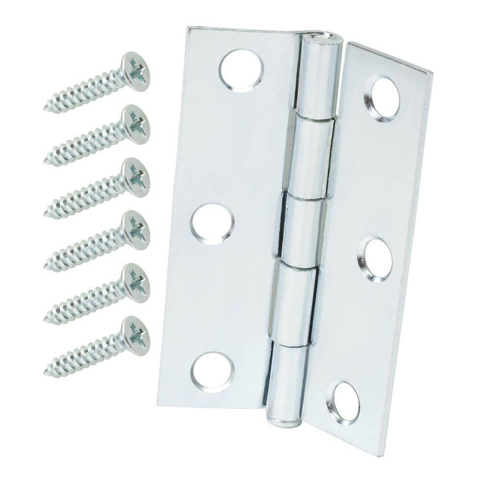Everbilt 2-1/2 in. Zinc Plated Narrow Utility Hinges (2-Pack)