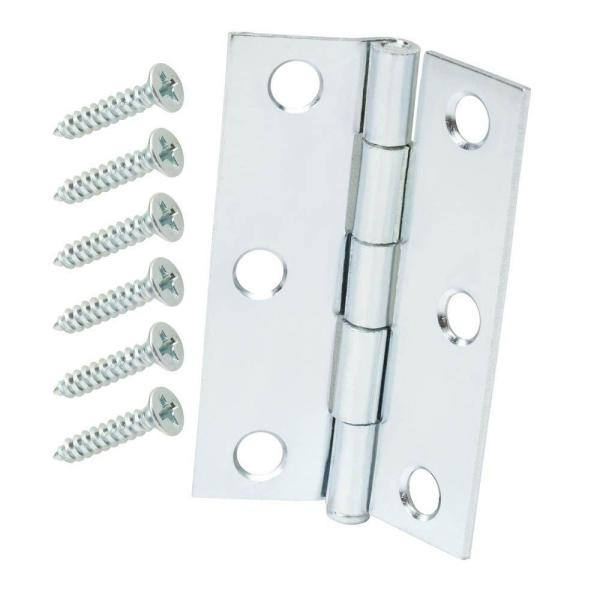 2-1/2 in. Zinc Plated Narrow Utility Hinges (2-Pack)