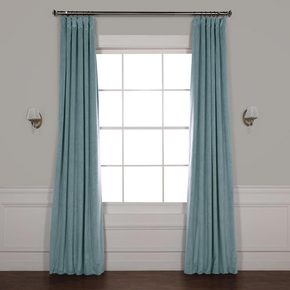 Signature Skylark Blue Blackout Velvet Curtain - 50 in. W x 96 in. L