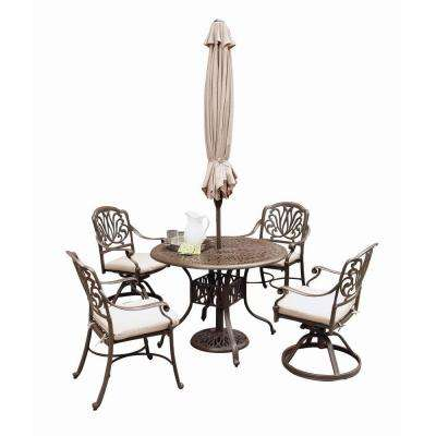 Floral Blossom Taupe 5-Piece Patio Dining Set with Beige Cushions and Umbrella