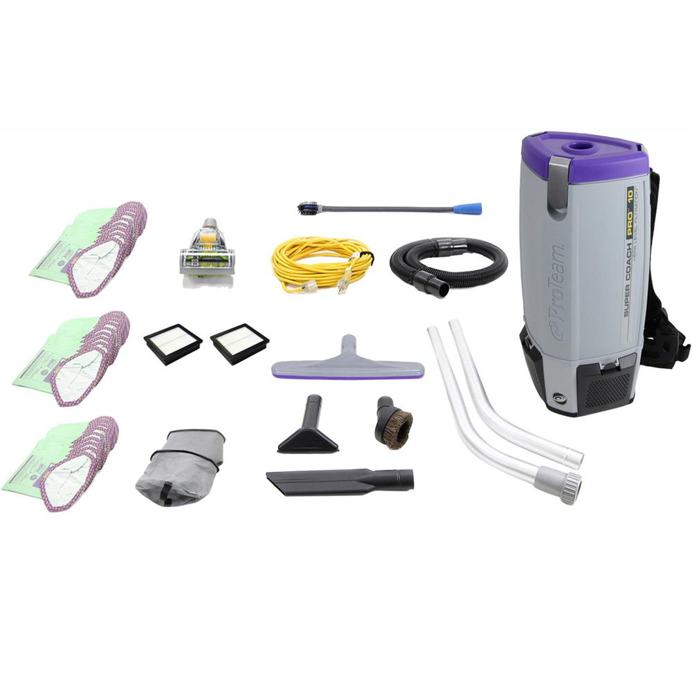 ProTeam Fully Loaded Proteam Super Coach Pro 10 Qt. Commercial Backpack Vacuum Cleaner